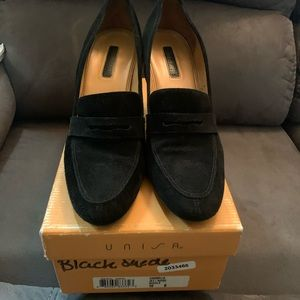 Unisa Black Suede Penny Loafers 10